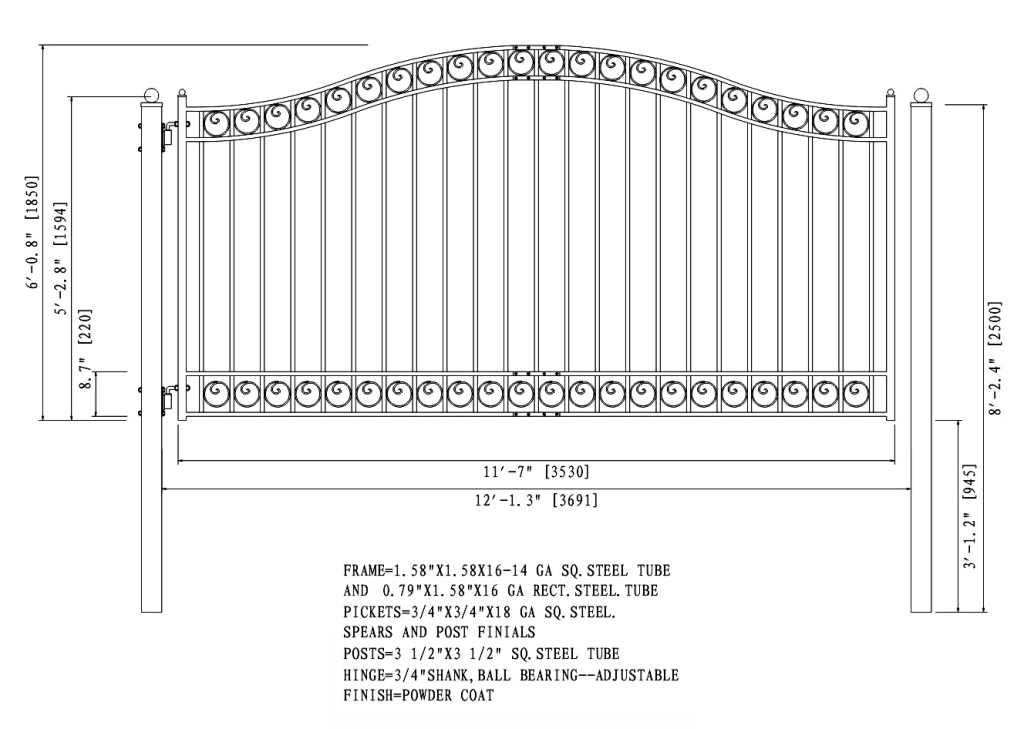 Dublin Style Single Swing Steel Driveway Gate DG12DUBSSW-AG