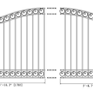 Dublin Style Single Swing Steel Driveway Gate DG12DUBSSW-AG 2