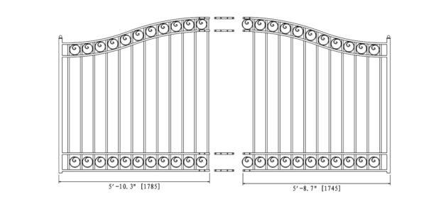Dublin Style Single Swing Steel Driveway Gate DG12DUBSSW-AG 2