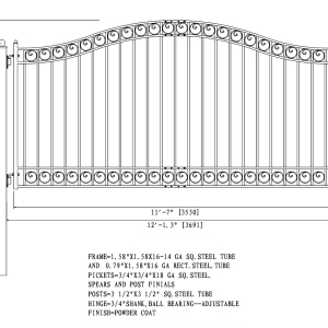 DuDublin Style Single Swing Steel Driveway Gate DG12DUBSSW-AGblin Style Single Swing Steel Driveway Gate DG12DUBSSW-AG