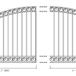 Dublin Style Single Swing Steel Driveway Gate DG14DUBSSW-AG 2