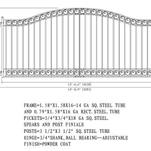 Dublin Style Single Swing Steel Driveway Gate DG14DUBSSW-AG