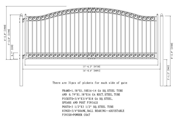 Dublin Style Single Swing Steel Driveway Gate DG16DUBSSW-AG