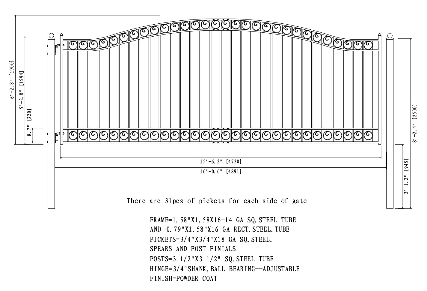 Dublin Style Single Swing Steel Driveway Gate