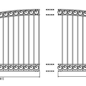Dublin Style Single Swing Steel Driveway Gate DG18DUBSSW-AG 2