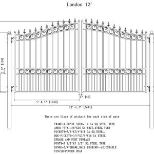London Style Dual Swing Steel Driveway Gate DG12LOND-AG