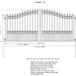 London Style Dual Swing Steel Driveway Gate DG14LOND-AG