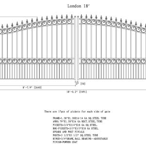 London Style Dual Swing Steel Driveway Gate DG18LOND-AG