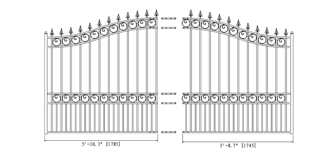 London Style Single Swing Steel Driveway Gate DG12LONSSW-AG 2