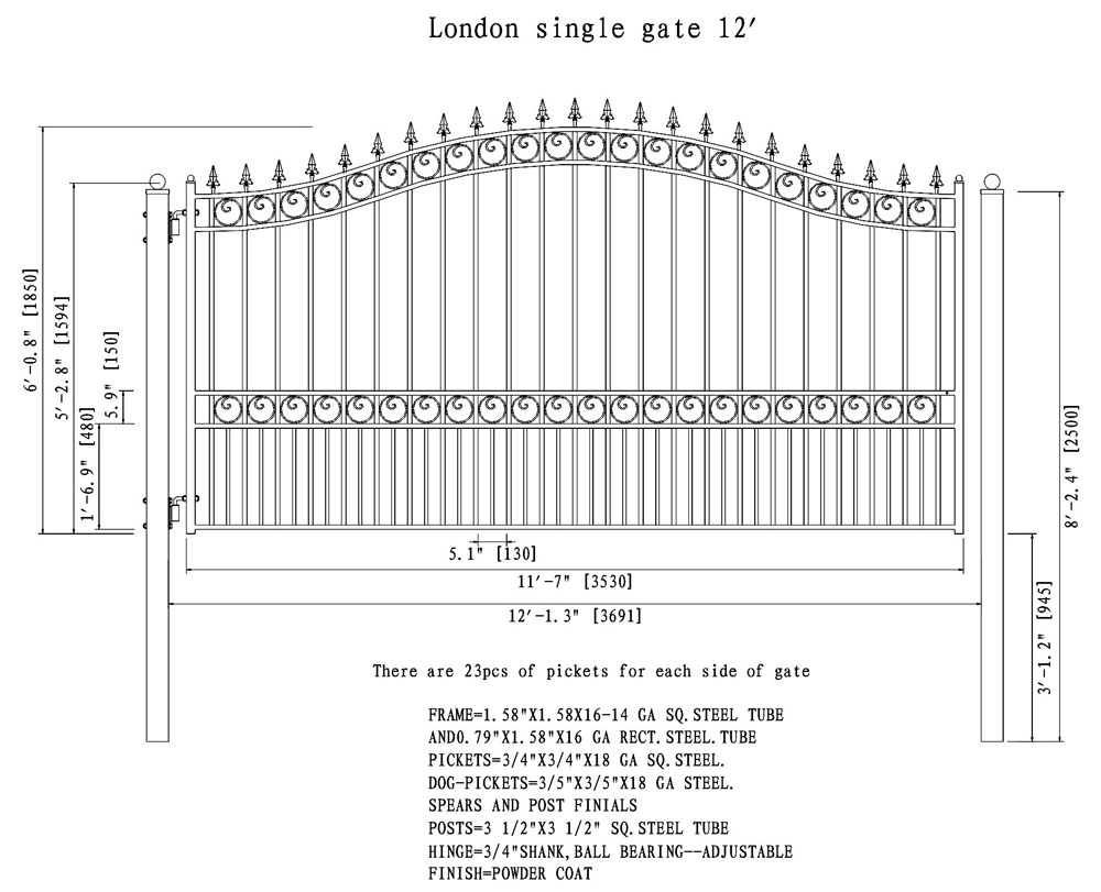 London Style Single Swing Steel Driveway Gate DG12LONSSW-AG