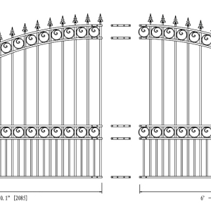 London Style Single Swing Steel Driveway Gate DG14LONSSW-AG 2