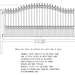 London Style Single Swing Steel Driveway Gate DG14LONSSW-AG