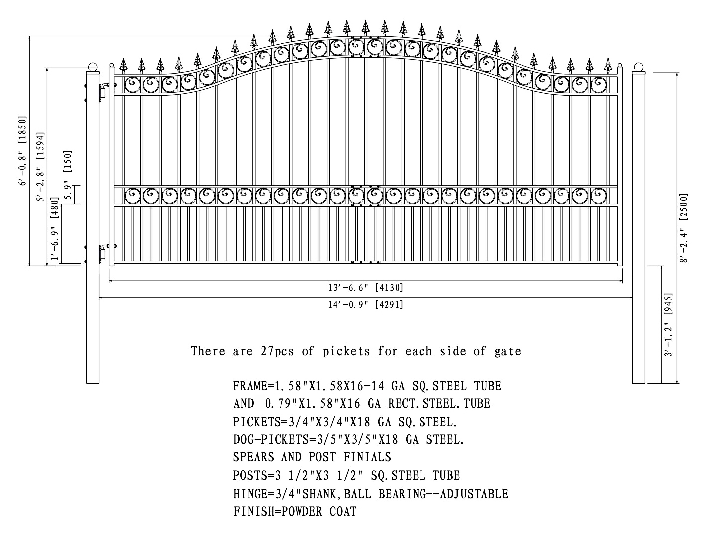 London Style Single Swing Steel Driveway Gate 12 18