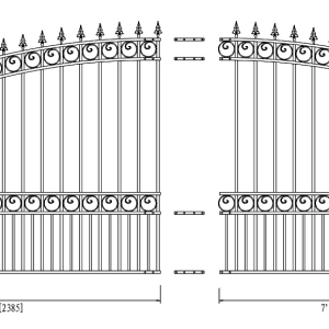 London Style Single Swing Steel Driveway Gate DG16LONSSW-AG 2