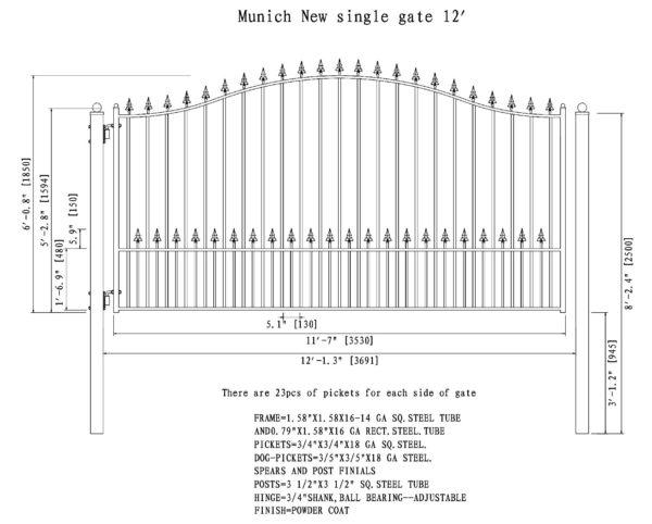 Munich Style Single Swing Steel Driveway Gate DG12MUNSSW-AG