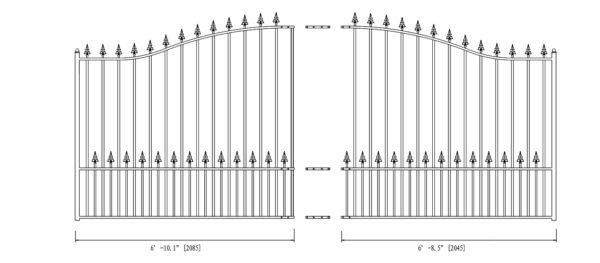 Munich Style Single Swing Steel Driveway Gate DG14MUNSSW-AG 2