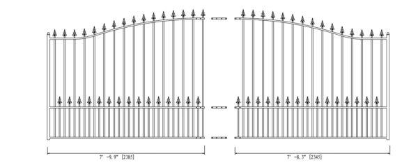 Munich Style Single Swing Steel Driveway Gate DG16MUNSSW-AG 2
