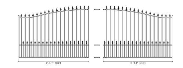 Munich Style Single Swing Steel Driveway Gate DG18MUNSSW-AG 2