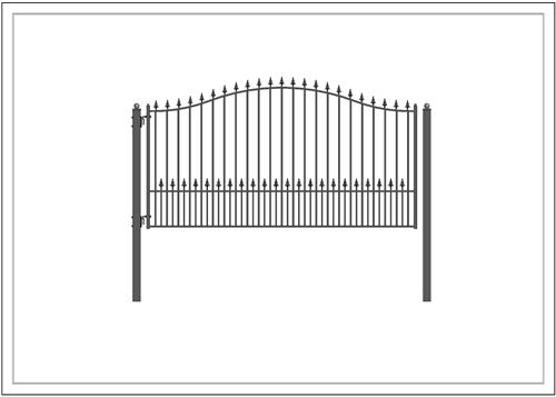 Munich Style Single Swing Steel Driveway Gate Image 4