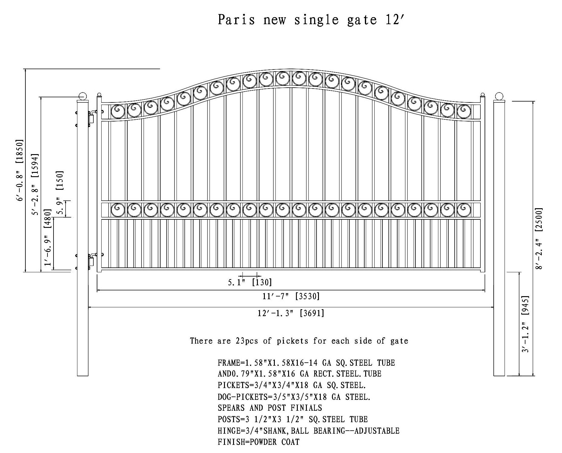 Paris Style Single Swing Steel Driveway Gate - 12\'-18\' -