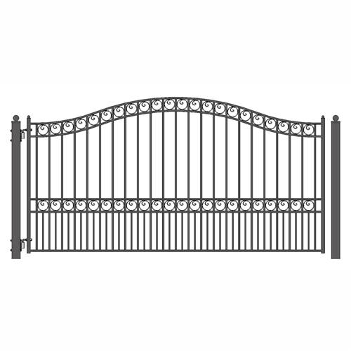 Paris Style Single Swing Steel Driveway Gate - 12'-18'