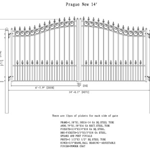 Prague Style Dual Swing Steel Driveway Gate DG14PRAD-AG