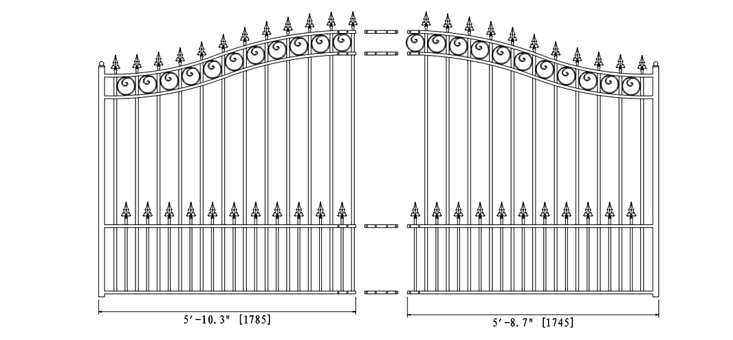 Prague Style Single Swing Steel Driveway Gate - DG12PRASSW-AG 2
