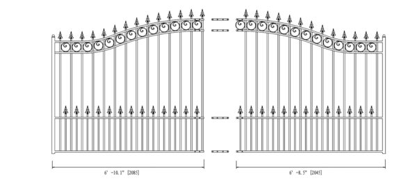 Prague Style Single Swing Steel Driveway Gate - DG14PRASSW-AG 2