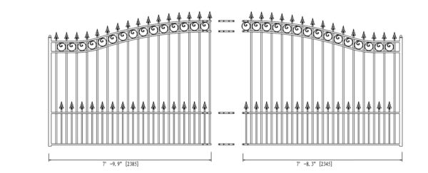 Prague Style Single Swing Steel Driveway Gate - DG16PRASSW-AG 2