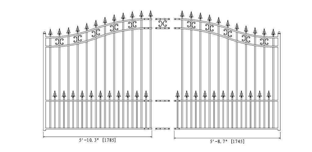 St. Petersburg Style Single Swing Steel Driveway Gate DG12STPSSW-AG 2