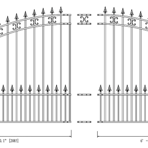 St. Petersburg Style Single Swing Steel Driveway Gate DG14STPSSW-AG 2
