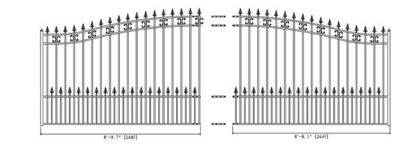 St. Petersburg Style Single Swing Steel Driveway Gate DG18STPSSW-AG 2