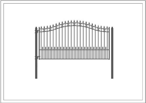 St. Petersburg Style Single Swing Steel Driveway Gate Image 5