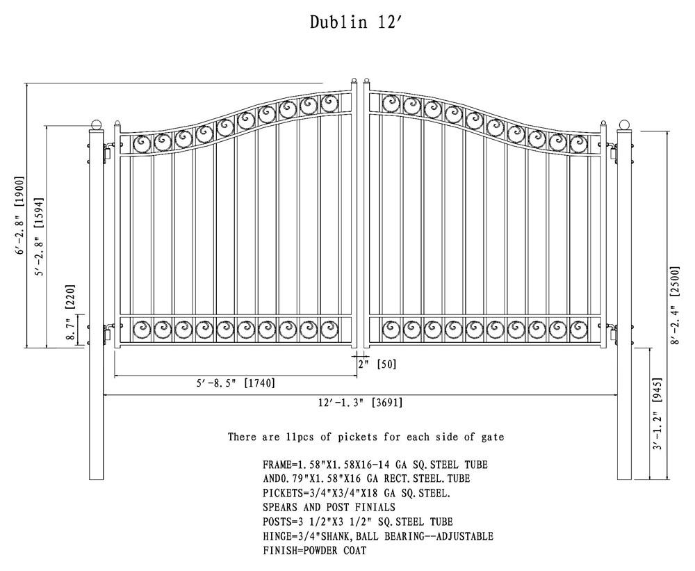 Dublin Style Dual Swing Steel Driveway Gate DG12DUBD-AG