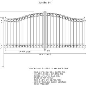 Dublin Style Dual Swing Steel Driveway Gate DG14DUBD-AG