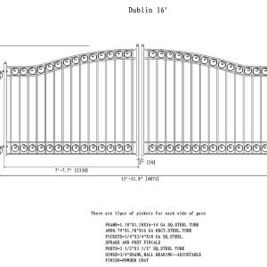 Dublin Style Dual Swing Steel Driveway Gate DG16DUBD-AG
