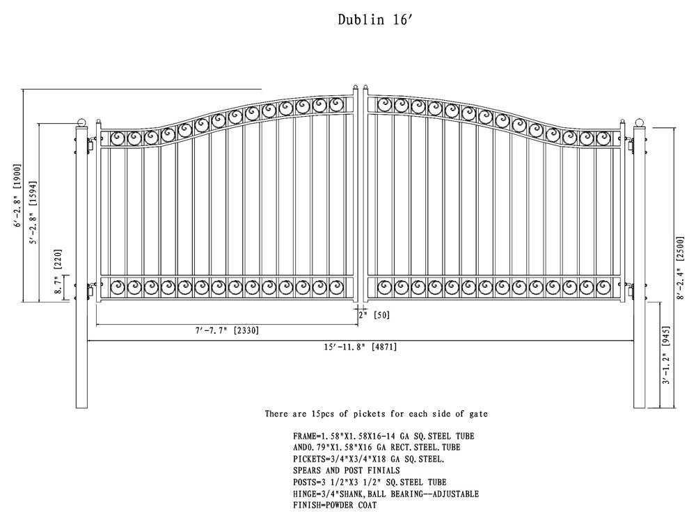 Dublin Style Dual Swing Steel Driveway Gate 12 18