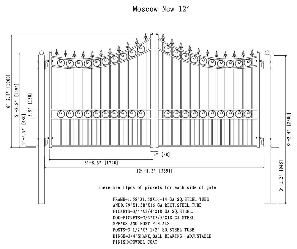 Moscow Style Dual Swing Steel Driveway Gate DG12MOSD-AG