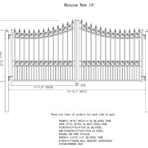 Moscow Style Dual Swing Steel Driveway Gate DG14MOSD-AG