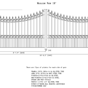 Moscow Style Dual Swing Steel Driveway Gate DG18MOSD-AG