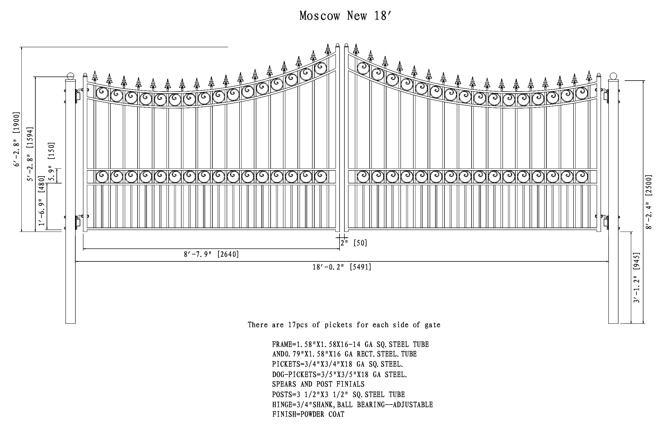 Moscow Style Dual Swing Steel Driveway Gate - 12\'-18\'