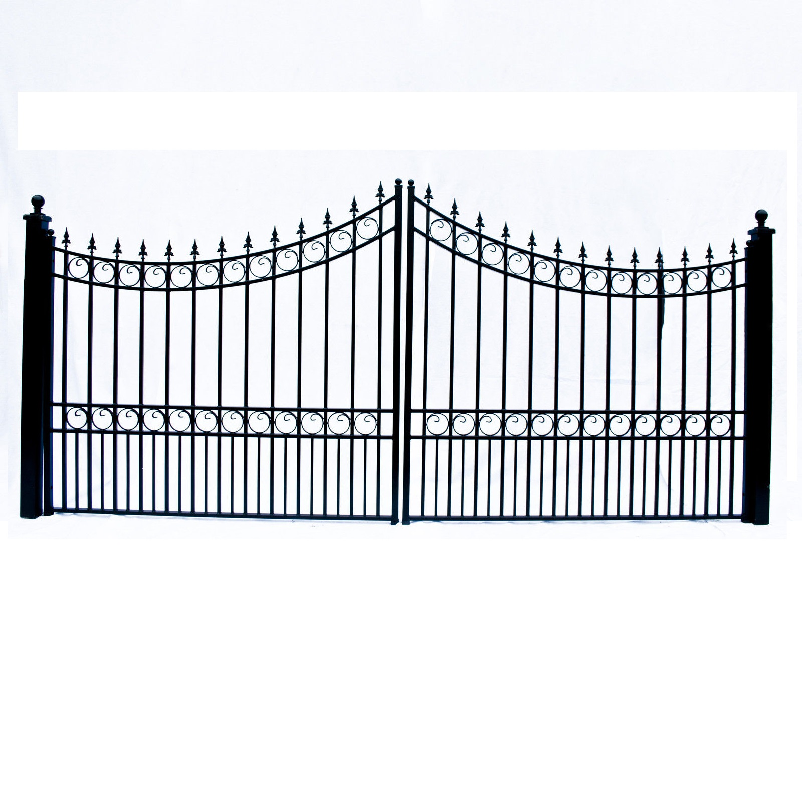 Moscow Style Dual Swing Steel Driveway Gate - 12'-18'