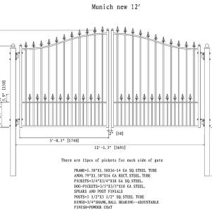 Munich Style Dual Swing Steel Driveway Gate DG12MUND-AG