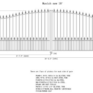 Munich Style Dual Swing Steel Driveway Gate DG18MUND-AG