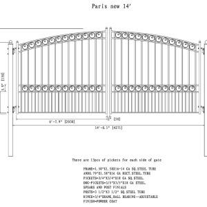 Paris Style Dual Swing Steel Driveway Gate DG14PARD-AG