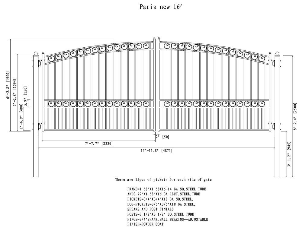 Paris Style Dual Swing Steel Driveway Gate 12 18