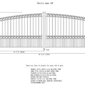 Paris Style Dual Swing Steel Driveway Gate DG18PARD-AG