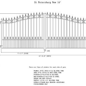 St Petersberg Style Dual Swing Steel Driveway Gate DG16STPD-AG