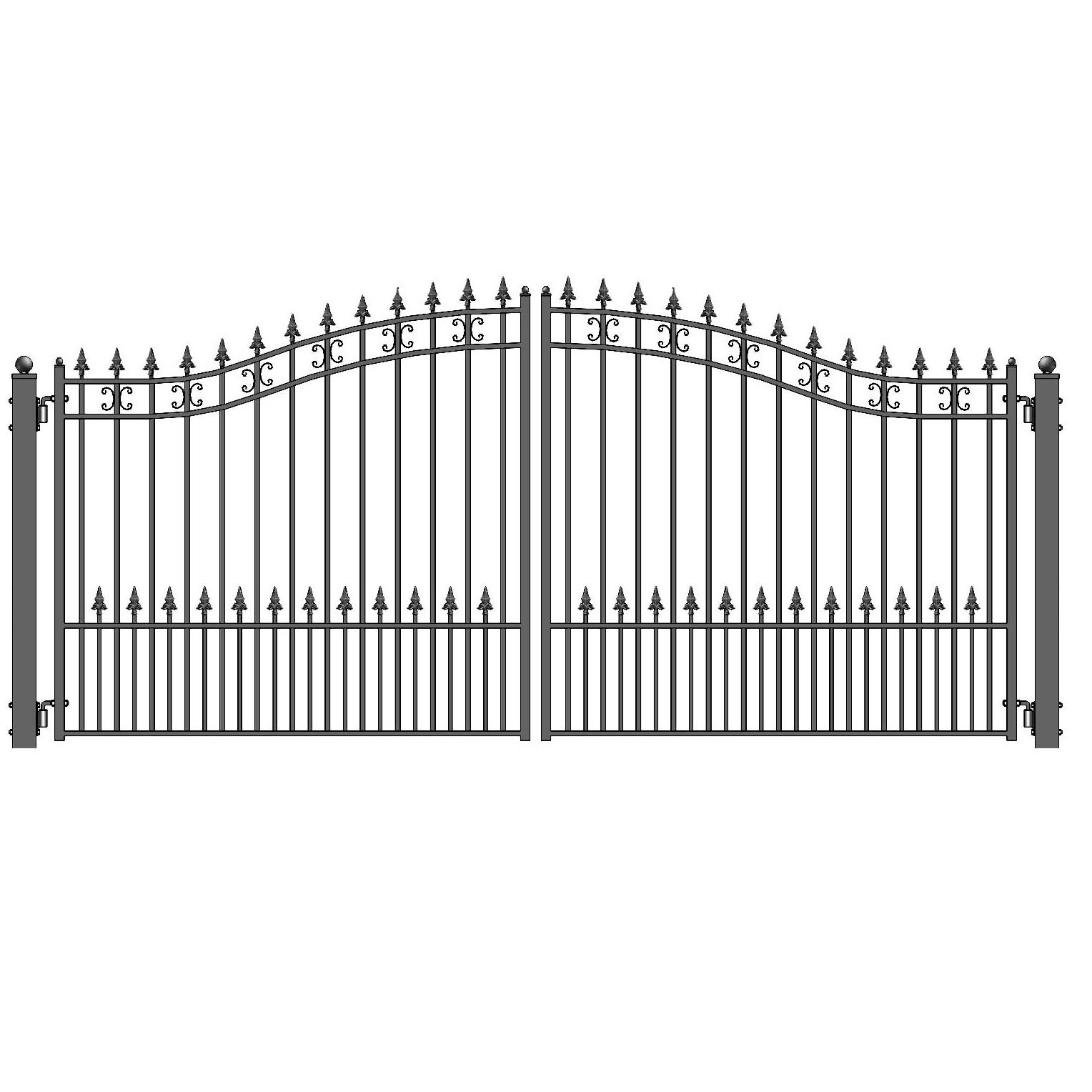 St petersberg style dual swing steel driveway gate