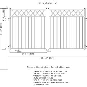 Stockholm Style Dual Swing Steel Driveway Gate DG12STOD-AG